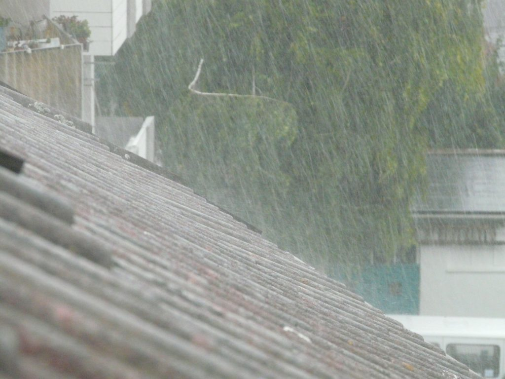 rain falling on the roof